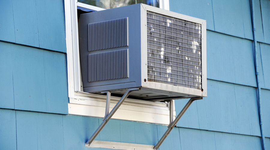 the best window air conditioner for large room installed in colorful home