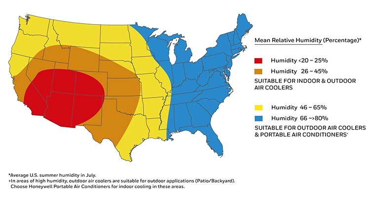 Regions where portable air conditioner that doesn't need a window are effective