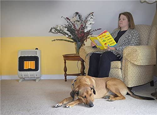 ventless propane heater indoors installed in a living room