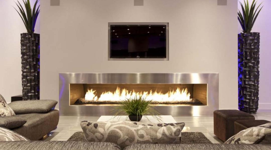 the most energy efficient electric fireplace installed in a living room