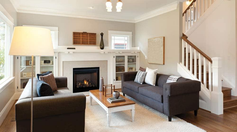 using the most efficient direct vent fireplace in a living room