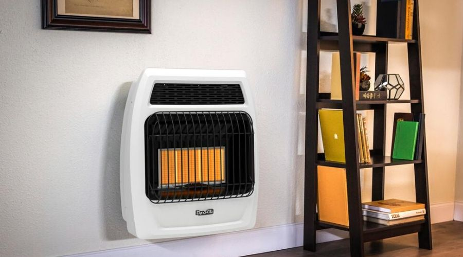 vent free propane heater with thermostat and blower installed in a wall