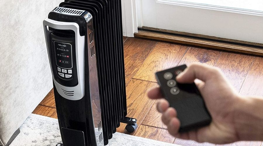 the best oil heater for large room on a wooden floor