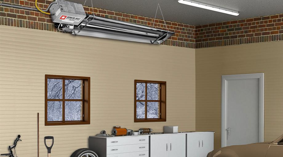 the most energy efficient garage heater mounted on the ceiling