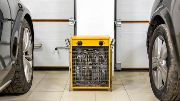 a quiet garage heater between two cars