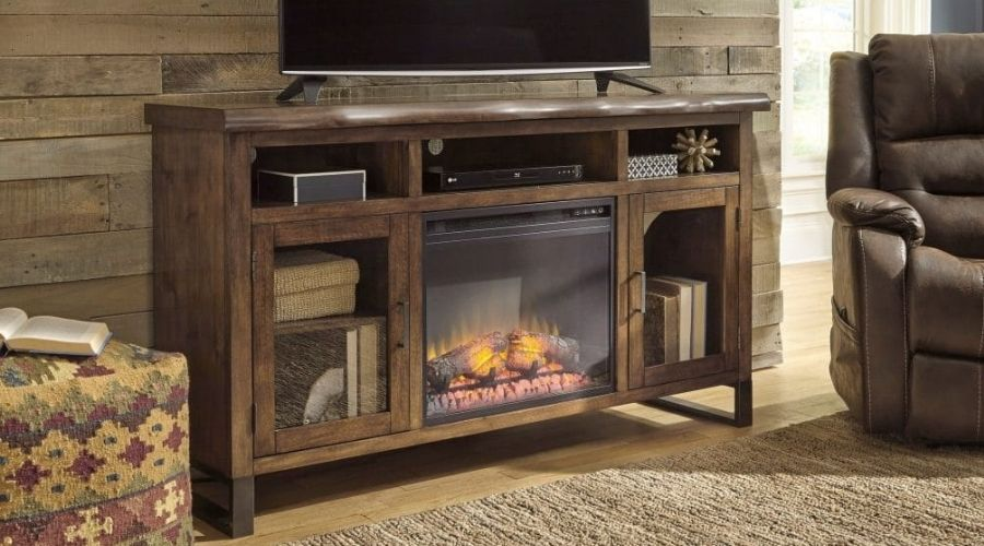 most realistic electric fireplace tv stand