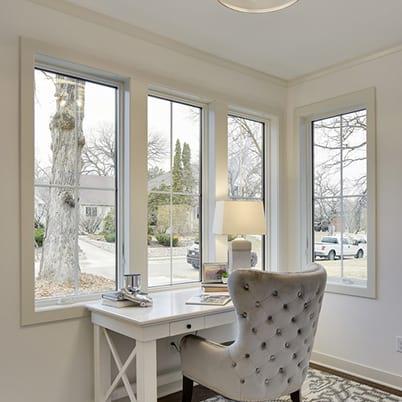 casement window installed in living room